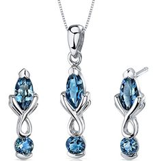 London Blue Topaz Pendant Earrings Necklace Set Sterling Silver Marquise Cut 2.25 Carats >>> Find out more about the great product at the image link.