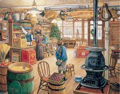 "As Mother selects fabric and little sister enjoys a sweet treat, a young boy has Christmas dreams of the sled displayed overhead. The potbellied stove warms a scene chock full of memories of the good old days. Artist: Lee Stroncek: Item 229: 1000 piece jigsaw puzzle: Finished size 24"" X 30"""