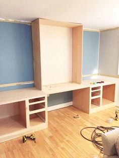 DIY Built-in Desk using kitchen cabinets after cutting off ...