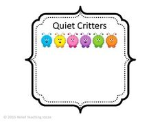 At the beginning of the year I made Quiet Critters to use in the classroom. The students love them! I only bring them out sparingly, and only during those times when students need to be working quietly by themselves.Quiet Critters live in a soundproof jar Behaviour Management, Classroom Management, Tattle Monster, Quiet Spray, Talkative Students, Quiet Critters, Behavior Incentives, Class Dojo, Silly Songs