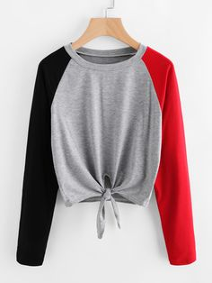 Shop Contrast Raglan Sleeve Knot Front Tee online. SheIn offers Contrast  Raglan Sleeve Knot Front 45ddb47a2