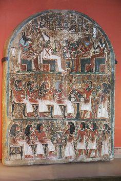 Museo del Louvre . Estela de Irynefer y de su familia - Deir el-Medina , 1300-1250 A.C. Egipto (by Soloegipto)
