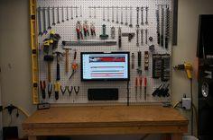 Home Improvement Tools Ideas Home Improvement DIY Videos Kitchen Board And Batten Garage Storage Solutions, Diy Garage Storage, Garage Shelving, Garage Organization, Storage Ideas, Garage Shelf, Organization Ideas, Led Garage Lights, Garage Lighting