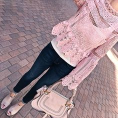 Petite ankle jeans, Chloe marcie small leather satchel, Blush Gabby Block Heel Mule, PINK LACE BELL SLEEVE PEPLUM ZIPPER BACK BLOUSE, spring outfit, petite fashion blog - click the photo for outfit details!