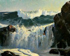 """""""'Monhegan Break,"""" Frederick Judd Waugh, ca. 1890, oil on board, 19 X 23"""", private collection."""