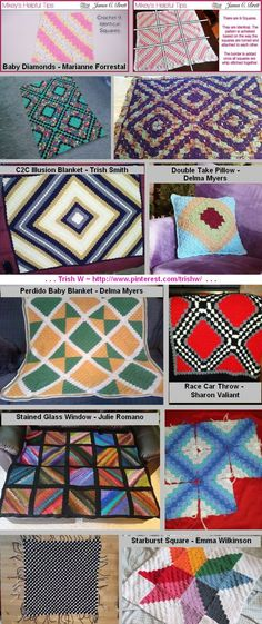 """Corner-to-corner stitch ~ A little imagination with layout of C2C squares can give very different & interesting results. (Bottom left """"checkered"""" pattern is one big square with alternating rows of 2 colors.) *Designer attribution given where known - see Ravelry. . . . ღTrish W ~ http://www.pinterest.com/trishw/ . . . #crochet #afghan"""