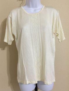 Honey Women's Ivory Sheer Short Sleeve Knit Blouse Size M NWT #Honey #Blouse #Casual
