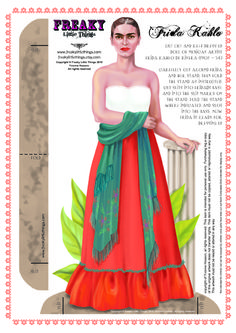 Can you design a headpiece for this Frida character once you construct her as a paper doll?  Add a parrot to her wrist and give her some oversized jewelry for fun...OR design Frida as a MARIONETTE PUPPET with an OUTLINE TEMPLATE from http://pinterest.com/leafdancer/patterns/