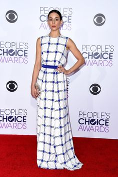 Pin for Later: The Most Glamorous Looks From the People's Choice Awards Troian Bellisario Troian looked elegant in a blue and white printed dress by Caterina Gatta and a clutch by Benedetta Bruzziches.