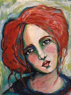 Guinevere - Original Portrait Painting by Roberta Schmidt ArtcyLucy on Etsy SOLD Abstract Portrait Painting, Portrait Art, Abstract Art, Art Auction, Fine Art Gallery, Face Art, Mixed Media Art, Modigliani, Jim Halpert