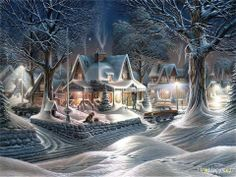 beautiful christmas pictures for desktop Beautiful Christmas Scenes, Christmas Scenery, Christmas Town, Old Fashioned Christmas, Noel Christmas, Christmas Music, Vintage Christmas Cards, Christmas Pictures, Winter Christmas