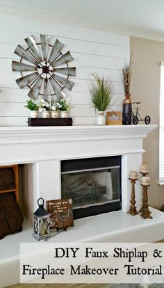 What a difference a little shiplap makes! Check out this easy and cheap DIY shiplap fireplace makeover! - May 12 2019 at Diy Home Decor Rustic, Diy Home Decor Bedroom, Diy Home Decor On A Budget, Modern Farmhouse Decor, Unique Home Decor, Cheap Home Decor, Farmhouse Mantel, Farmhouse Style, Farmhouse Windows