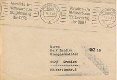 Postscheckamt Dresden 16-05-1969 Maschinenstempel 'Vorwarts im Wettbewerb zum 20. Jahrestag der DDR!'