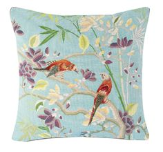 How pretty is this Bird cushion. Made in France using traditional tapestry and weaving techniques. http://www.horsfallandwright.co.uk/iosis-bird-cushion---blue-1834-p.asp