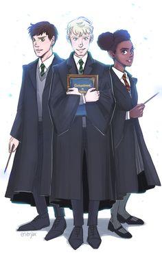 Albus Potter, Scorpius Malfoy, and Rose Granger-Weasley by enerJax