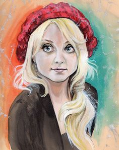 Evanna Lynch [Luna Lovegood]  Acrylic inks on Pastel Paper [SOLD]  by SarahKristin on Flikr