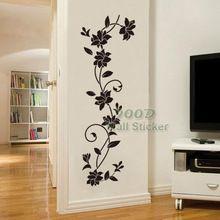 Virág szőlő fal matrica.  DIY lakberendezési kivehető fali dísz, Wall Art…