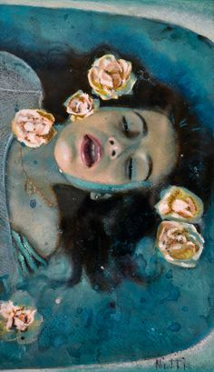 "Sylvia Nitti, ""Girl in Water"", Watercolor & Pastel"