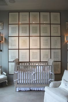 I love this use of the music sheets as a wall art installation. This is from the Restoration Hardware baby & kids store.