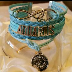Aquarius Bracelet Metal Alloy Material Wax Cord Faux leather Lobster Clasp Adjustable One size fits most Jewelry Bracelets