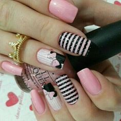 Try some of these designs and give your nails a quick makeover, gallery of unique nail art designs for any season. The best images and creative ideas for your nails. Pink Nail Art, Acrylic Nail Art, Acrylic Nail Designs, Pink Nails, My Nails, Disney Nail Designs, Nail Art Designs 2016, Cute Nail Designs, Disney Nails Art