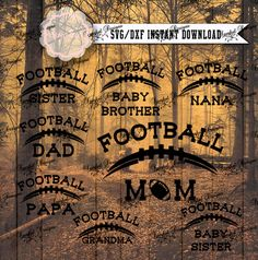Football SVG Files Mom Dad Grandpa Grandma by SparkalSVGDesigns