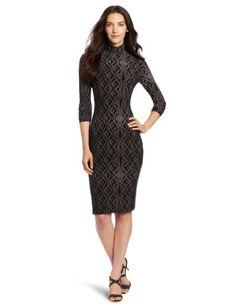 Reviews KAMALIKULTURE Women's Long Sleeve Turtleneck Dress, Grey Lace Fencing, Medium