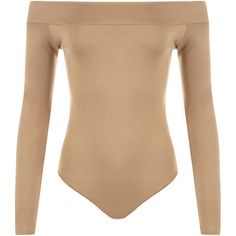 Abbigail Off Shoulder Bodysuit Leotard ($16) ❤ liked on Polyvore featuring tops, mocha, off the shoulder tops, beige top, long sleeve tops, body suit and bodysuit tops