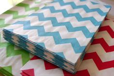 """Cute small Aqua Blue stripe chevron pattern paper bag's petite size makes them perfect for small treats of loose candy or as a unique envelope for a note, gift tag or business card.  - Treat bags - Favor bags at weddings, showers or birthday parties - Scrapbooking - Product packaging - Gift wrapping - Gift cards and business cards fit perfectly - Organize small paper scraps, ribbon, stickers, etc. 2.75 x 4"""" Kraft paper..."""