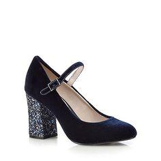 RJR.John Rocha Navy velvet high court shoes-   Debenhams