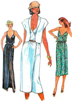 1970s Dress Pattern Vogue 7334 Day or Evening Front Wrap Dress and Jacket Womens Vintage Sewing Pattern Bust 31 1/2