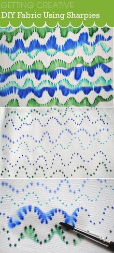 Create this fun fabric design using sharpies and rubbing alcohol
