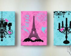 Eiffel Tower Art Paris Bedroom DecorChandelier Girls by MuralMAX