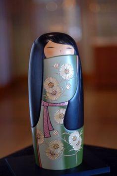 Blue Japanese Kokeshi Doll