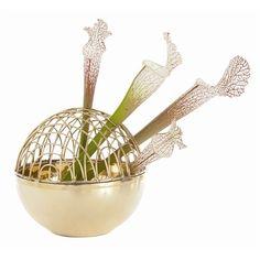 """""""Adelaide"""" Polished Brass Sphere Flower Arranger (Arteriors)"""