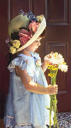 A warm, gentle bath of sunlight dances over the threshold and captures this little girl's curiosity at the very moment she discovers the beautiful detail found in a simple bouquet of spring flowers.  --  MY LITTLE SUNSHINE by Jean Monti