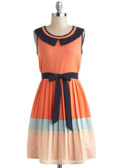 Fun in the Sunset Dress - Mid-length, Orange, Blue, White, Pleats, Belted, Work, Casual, A-line, Sleeveless, Colorblocking, Collared, Vintage Inspired, 30s, Coral