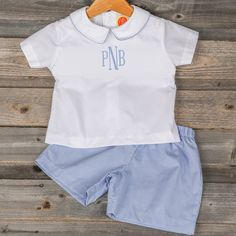 "Boys White & Blue Gingham Collared Short Set Pre-Order shipping by March 6th, 2015 Brand: Classic Whimsy. Price: $34.99 + $10 @ Checkout for Monogram Options: 2T, 3T, 4T, 5, 6 To bid, comment with ""Sold, size, email address""."