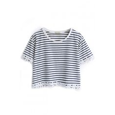Blue Striped Lace Trimmed Crop T-Shirt ($20) ❤ liked on Polyvore featuring tops, crop top, shirts, beautifulhalo.com, shirt crop top, blue shirt, blue top, shirt tops and round top