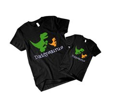 Dinosaurs , matching set for dad and kid t-shirts . Black VC008
