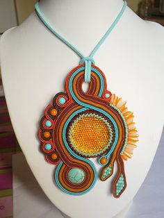 Posts about bead embroidery written by beadersunited Soutache Pendant, Soutache Necklace, Handmade Necklaces, Handmade Jewelry, Fusion Beads, Polymer Clay Charms, Jewelry Patterns, Beaded Embroidery, Shibori
