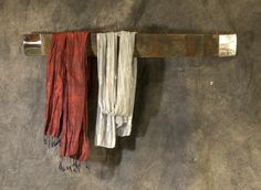 When I found a decrepit old barrel stave, I had to have it. David Simpson made polished aluminum ends and it is perfect for my favourite scarves! Perfect For Me, Architectural Salvage, Old And New, Bathroom Ideas, Barrel, Repurposed, Scarves, Objects, David