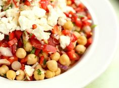 Chickpea Salad w/ Feta, Chili and Red Bell Pepper