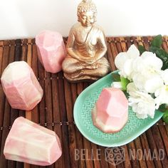 Pink & White Ylang Ylang Essential Oil Pyramid Soap Handamde Handcut Natural Vegan Chemical Free Cruelty Free with Aloe Vera and Coconut Oil by BelleNomadShop on Etsy