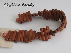 Bayong Stick Wood Beads  42 beads  7 inch Strand by SkylineBeads, $3.75