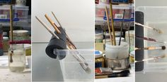 Tired of crusty, dried wax on the tips of your brushes? Try these simple DIY brush holder solutions to keep your brushes suspended in water so they don't Pochade Box, Ceramics Monthly, Paint Brush Holders, Oil Painting Techniques, Pottery Techniques, Pottery Studio, Art Tips, Paint Brushes, Ceramic Art