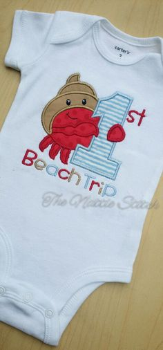 First Beach Trip Shirt, 1st Beach shirt, Vacation Shirt, Baby Beach Shirt, Girl Beach Shirt, Boy Beach Shirt, Fourth of July Shirt by TheNattieStitch on Etsy