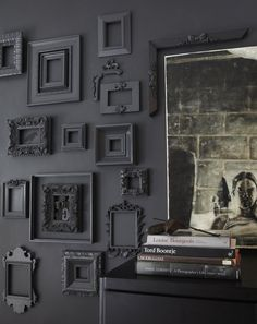 charcoal grey picture frame display