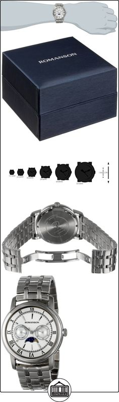 Romanson tm2616fm1was2W del hombre clásico de tres fase de la luna, función de día y fecha reloj de cuarzo de mano  ✿ Relojes para hombre - (Lujo) ✿