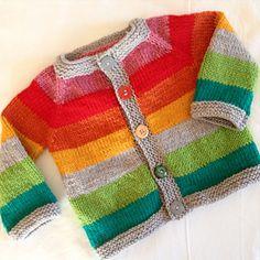 Baby Boy Knitting Patterns, Baby Cardigan Knitting Pattern, Knitting For Kids, Knitting Designs, Knit Patterns, Rainbow Cardigan, Striped Cardigan, Knit Basket, Baby Sweaters